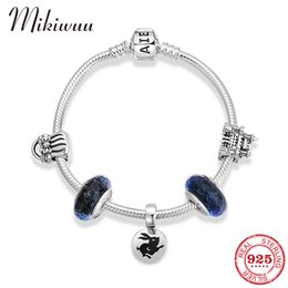 handbag 925 charm Australia - Hight Quality 925 Silver Charms Bracelet & Bangles With Queen Castle Bowknot Handbags Blue Murano Glass Beads Bracelet for Women