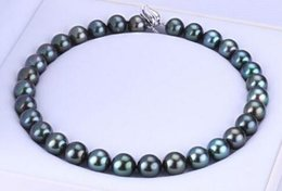 awesome necklaces Australia - Awesome Free Shipping Round 10-11mm Green Black pearl necklace 18 inches 925s