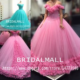 $enCountryForm.capitalKeyWord Australia - Real Images!! Pink Tulle Ball Gown Wedding Dresses 2020 Princess Blue Handmade Flowers Wedding Gowns Bridal Dresses Plus Size Robe de mariée