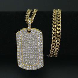 $enCountryForm.capitalKeyWord Australia - hip hop diamonds dog tag pendant necklaces for men luxury crystal pendants alloy rhinestone gold cuban chain necklace jewelry free shipping