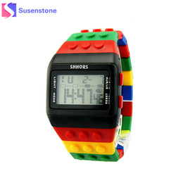 Black Blocks Australia - Fashion Men Women Digital Watch Colorful Building Blocks Design Silicone Band Quartz Wrist Watch Military Sport Watches montre