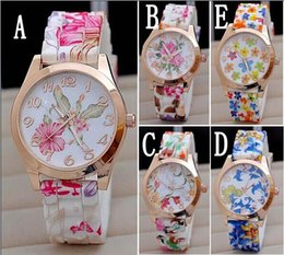Super White Rose Australia - Hot Silicon Strap Beautiful Rose Flower Blue and white porcelain Super Design Geneva Wrist Watch for Wome students Girls BB