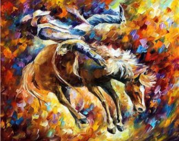 Hand art painting online shopping - hand painted wall art horse racing knife painting Leonid Afremov artist canvas painting reproduction modern bedroom wall art