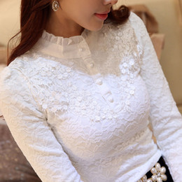 EmbroidEry slEEvElEss blousE online shopping - New Women Embroidery Feminine Black Lace Primer Long Sleeves Shirt Plus Size xl Tops Blouse J190618