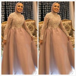 Wholesale long length collar dress images resale online – Aso Ebi Arabic Muslim Lace Beaded Evening Dresses High Neck Long Sleeves Prom Dresses Cheap Formal Party Second Reception Gowns ZJ366