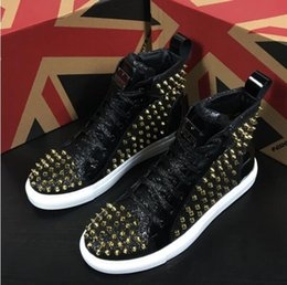 $enCountryForm.capitalKeyWord Australia - New luxurious designer rivet glitter charming shoes Causal Flats Moccasins Male High Top Rock hip hop black silver shoes For Man DA03