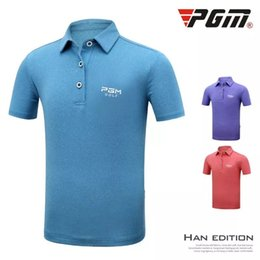 Discount polo sport red - PGM Children's Short Sleeved Turn-down Collar Golf polo Shirts Boys Outdoor Sports T-Shirt Summer Breathable quick-