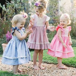 $enCountryForm.capitalKeyWord Australia - children girls flying sleeve lace dress summer baby pleated princess dress square collar pink blue color