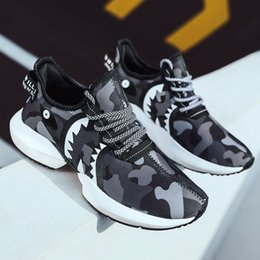 china sports shoes sneaker Canada - Wholesale Discount women men running shoes Desert Camo Navy blue Mens Trainers Sport Sneakers Shark Homemade brand Made in China size 39-44