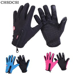 Gloves Windproof Bicycle Australia - CHSDCSI Men Women Winter Mittens Windproof Warm Full Finger Gloves Outdoor Sports MTB Bike Bicycle Skiing Touched Screen Gloves