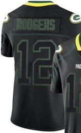 Light Green Color Shirts Australia - Men Green Bay 12 Jersey Embroidery and 100% stitched 2019 Lights Out Black Color Rush Limited American Football shirt
