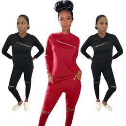 Discount black zipper leggings - women sports suit 2 piece set zipper hoodie leggings tracksuit sweatshirt sportswear pullover pants sweatsuit outfits jo