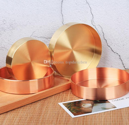 $enCountryForm.capitalKeyWord Australia - Nordic chic style metal copper pure copper round brass oval storage tea tray gold Ins popular product decoration orname