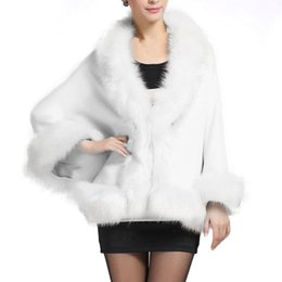 Discount fur coats for wedding dresses - Winter Faux Fur Coat Women Ponchos And Capes Black White Red Fur Top Wedding Dress Shawl Cape Shaggy Fluffy Coat for Wom