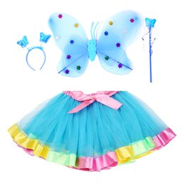$enCountryForm.capitalKeyWord Australia - hot sale Girls rainbow Tutu dress with Butterfly wing suit children Birthday Party Dress set kids dance skirt 2019