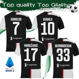 Wholesale RONALDO Top Quality Home Soccer Jersey Football Shirt Short Sleeves DYBALA RAMSEY Sports Jersey Adult Uniforms