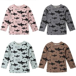 $enCountryForm.capitalKeyWord Australia - Toddler Kids Autumn T-shirts Cartoon Shark Letter Printed Tops Baby Girls Boys Long Sleeved Tees Cute Casual Clothes 18M-6T A20