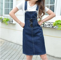 f52baf8553 Fashion Women s Bib Overalls Slim Midi Jeans Skirts Woman Cotton Blue Suspender  Denim Skirt G041102 C19041601
