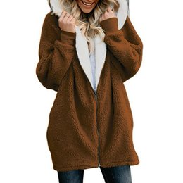 619fa98fa9f Winter Thicken Warm Faux Fur Coat Fashion Women Hooded Soft Fleece Zipper  Cardigan Female Casual Jackets Plus Size 5X 8L1287