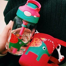 bpa free glasses NZ - Eco-friendly Kids Cartoon Water Bottles BPA Free Glass Straw Children Bottle Children Kettle Portable Sports Leak-Proof Bottle