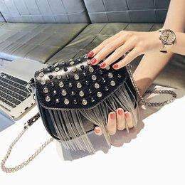 Silver Small Hand Bag Australia - Fashion Tassel Women Shoulder Bag Ladies Hand Bags 2019 Fashion Female Small Flap Bag Rivet Crossbody Shoulder Bags