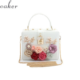 $enCountryForm.capitalKeyWord Australia - Caker Brand 2019 Women Square Handbag Evening Beaded Flower PU Leather Day Clutches Pink White Red Black Blue Chain Bags
