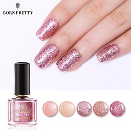 Nail art piNk color online shopping - Hot Rose Gold Series Nail Polish ml Pink Nude Pure Color Varnish Glitter Sequins Nail Art Lacquer