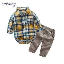 body tutu Australia - 3-24M Baby Boys Clothes Autumn baby boy set bodys bebes cotton Plaidshirt +Corduroy trousers+body 2piece set newborn clothing CJ191130