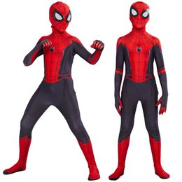 Wholesale superhero cosplay zentai online – ideas 2019 Kids Spider Man Far From Home Peter Parker Cosplay Costume Zentai Spiderman Superhero Bodysuit Suit Jumpsuits