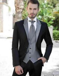 $enCountryForm.capitalKeyWord Australia - Men Suits Nice Design Slim Fit Black Greytuxedo Men Suits For Wedding Formal Italian Custom 2 Pieces Suit For Man Wholesalers