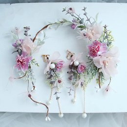 Hair For Brides Australia - Dower Me Pretty Pink Flower Hair Wreath For Bride Handmade Wedding Hair Accessories Bridal Headband With Earrings Y19051302