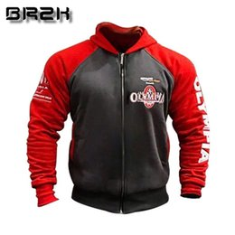 gym jacket UK - OLYMPIA Men Gyms Hoodies Gyms Fitness Bodybuilding Sweatshirt Pullover Sportswear Male Workout Hooded Jacket Clothing