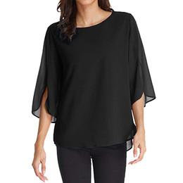 Women Elegant Tees Australia - Women Casual Solid Office Chiffon Tee Shirt Womens Summer Tops Elegant Ladies Half Ruffles Flare Sleeve Shirt Clothing 2019