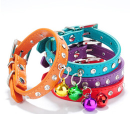 bling small dog collars NZ - Bling Rhinestone Bell Dog Collar Pet Necklace Fashion PU Leather Diamond Small Dog Cat Collars Lovely Puppy Teddy Necklaces