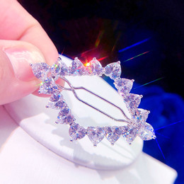 $enCountryForm.capitalKeyWord Australia - New High quality Silver Heart zircon flower hairpin ladies hairpin girl headdress bobby pin Headpieces Wedding Accessories