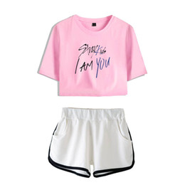 two piece crop top short sets Canada - Stray Kids I Am You 2018 Fashion Summer Shorts and T-shirts Women Two Piece Sets Cool Crop Top Soft Sex Clothes