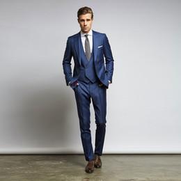 Slim Fit 48 Size Suit Australia - Best Selling Blue Men Suits Slim Fit Wedding Suits For Men With Jacket Vest And Pants Groom Tuxedos Three Pieces Cheap Blazers