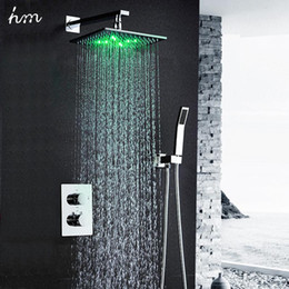 "faucets thermostat NZ - hm Thermostat Faucet Shower Set Wall Mounted Embedded Box 10"" LED Shower Head Powered by Water Saving Water Bath& Shower Faucets 20170805#"