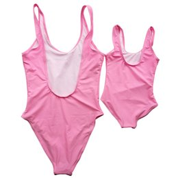 family swimwear UK - Mom And Daughter Cute One Piece Swimsuit Trouble Maker Funny Letter Family Matching Outfits Baby Girl Swimwear Bathing Suit