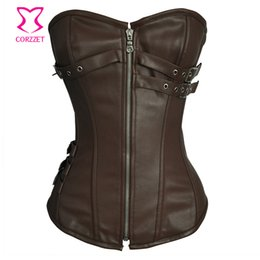 gothic corset buckle UK - Gothic Black Buckled Leather Steel Boned Corset Corselet Feminino Espartilhos Plus Size Corsets and Bustiers Steampunk Clothing