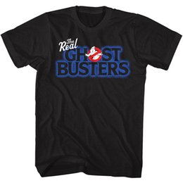 Wholesale The Real Ghostbusters T Shirt Logo Black Tee Tee Shirt Men Male Best Deals Custom Short Sleeve Boyfriend s Big Size Family Tshirts