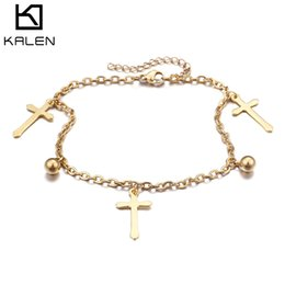 stainless steel anklets Canada - wholesale New Fashion Gold & Silver Stainless Steel Barefoot Sandals Anklets For Women Bohemia Cross Adjustable Anklets Lady Gifts
