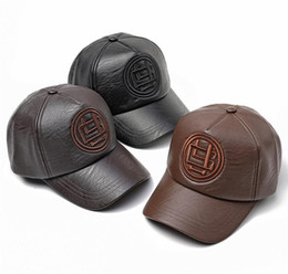 7a1f4da98ed3c Men PU Leather Baseball Caps Hiphop Hat Adjustable Winter Warm Baseball Cap  Classic Stylish Outdoor Sports Durable Ball Hat Black Peaked Cap