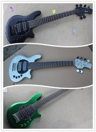music bass guitar Canada - Metal Green & Slivery & Matte Black Music Man Ernie Ball Bongo 6 Strings Bass 9V Battery Active Pickup Electric Guitar Rosewood Fingerboard