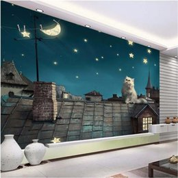Discount moon stars bedding custom size 3d photo wallpaper living room bed room mural night roof cat moon stars picture 3d sofa TV backdrop wallpape