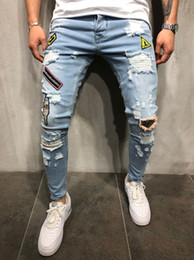 Patches Trousers Australia - Diaooaid 2018 Fashion New Male Hole Badge Embroidery Denim Trousers Pants Men's Streetwear Hiphop Skinny Casual Patch Jeans C19042201