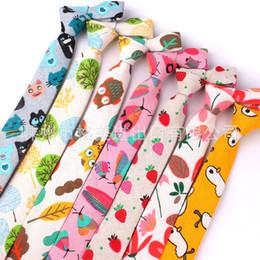 $enCountryForm.capitalKeyWord Australia - Cartoon men and women tie Korean version of casual fashion cotton and linen animal plant printing tie narrow version 6cm cross-border supply
