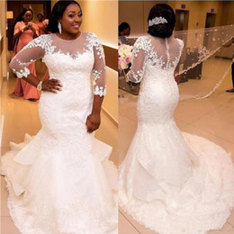 Chinese  African Plus Size Mermaid Wedding Dress Lace Appliques Sheer Neck Long Sleeves Bridal Dress Custom Made Wedding Gowns for Fat Brides 2019 manufacturers
