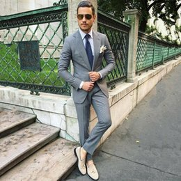 grey slim fit suits for groom Australia - Custom Groom Tuxedo Grey Business Men Blazers Men Suits for Wedding Suits Pants Prom Party Slim Fit Costume Homme 2Piece Terno Masculino