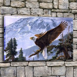 Framed Eagle Painting Australia - Canvas Pictures Home Decor 1 Piece King Of The Air Eagle Painting Living Room Prints Snow Mountains Poster Wall Art Frame